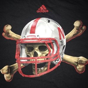 Adidas brand Nebraska Huskers football T-shirt wow
